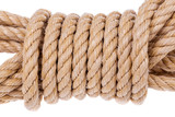 Coil of rope twisted into a roll. On a white background.