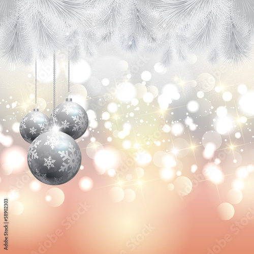 Christmas tree and baubles background