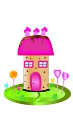 Casita con tejado rosa y chimeneas