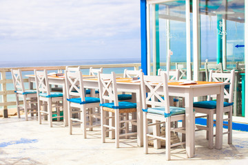 Outdoor cafe on the beach in Atlantic coast