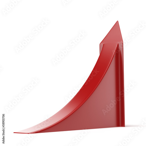 Red ascending arrow