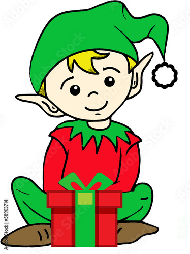 Christmas-Elf with Present