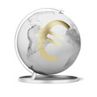 Gold euro symbol and globe
