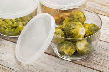 dinner meal in glass containers