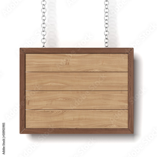 wooden sign hanging on a chain