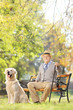 Senior man seated on a wooden bench with a dog relaxing in park