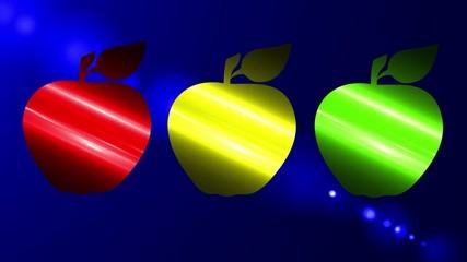 Manzana roja, amarilla y verde