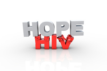 3d hope text breaking HIV text - Fight HIV concept