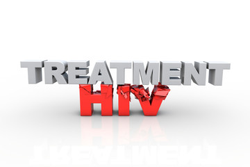 3d treatment text breaking HIV text - Fight HIV concept