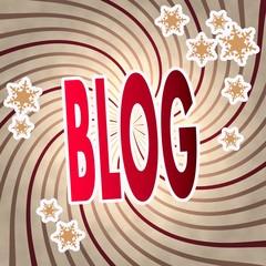 red vintage wooden blog label