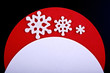 Christmas greeting card, red and white color on black background