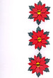 Christmas card or invitation, red flowers on ceramic background