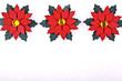 Christmas card or invitation,red flowers on ceramic background