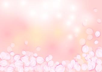 桜色背景と花びら