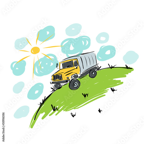 Truck on meadow, sketch for your design