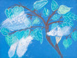 children drawing - tree with white blossom