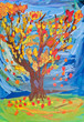 children drawing - autumn tree witn fall leaves