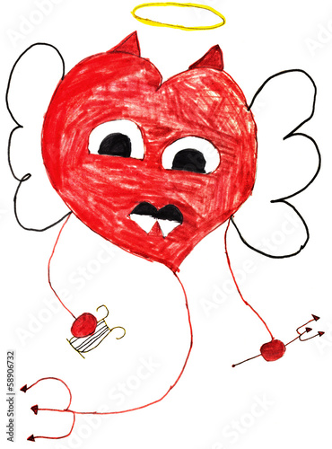 children drawing - flying heart