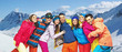 Funny picture of young snowboarders