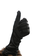 A thumbs-up sign on isolated white background