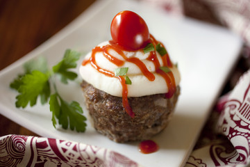 Mini Meatloaf Cupcakes with Mashed Potato Frosting