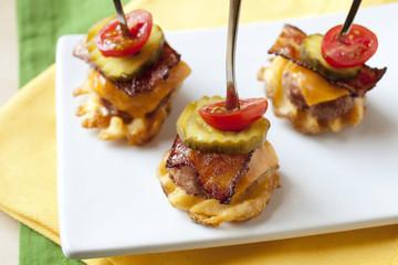Waffle Fry Bacon Burger Bites