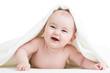 happy baby girl in towel