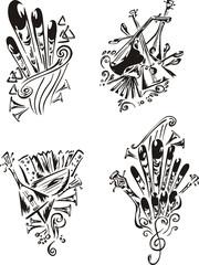 stylized music emblems - folklore