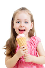 joyful child girl eating ice cream