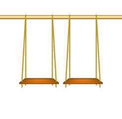 Wooden swings hanging on ropes