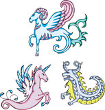 mythic sea goats and unicorn