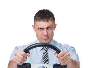 Man with the wheel on white background
