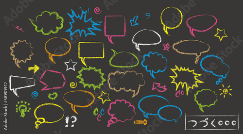 Speech bubbles on black background