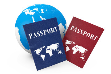 World travel Concept. Earth and passports