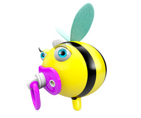 Cartoon Bee with pacifier