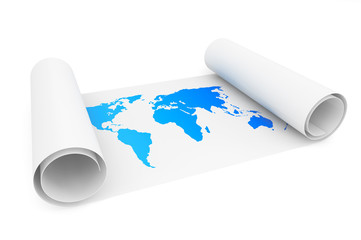 Roll of paper with Earth Map