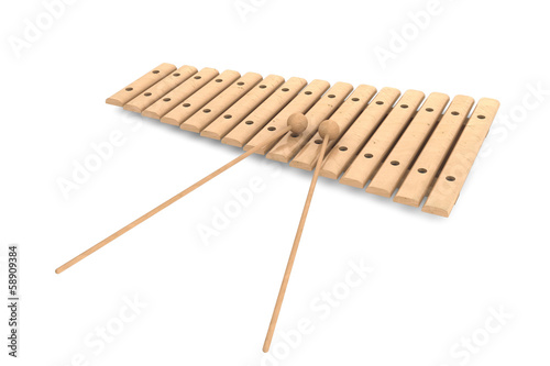Wooden xylophone with mallets