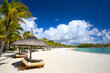 canvas print picture - White sand tropical beach in Mauritius Island