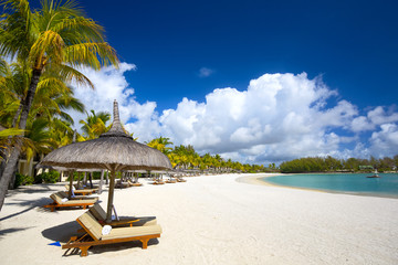 White sand tropical beach in Mauritius Island