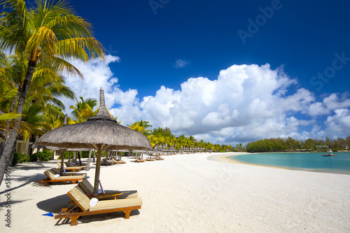 canvas print picture White sand tropical beach in Mauritius Island