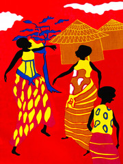 Scene of traditional life on a piece of a red cotton fabric