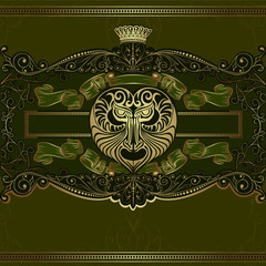 luxury vector design devil head with pattern background