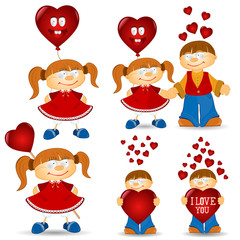 girl and boy valentive love cartoon