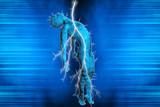 Fototapety 3D illustration of a man struck by lightning
