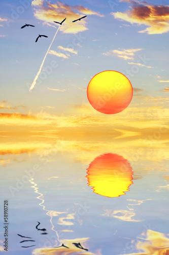 Fotobehang Een Hoekje om te Dromen el sol se mira en el espejo