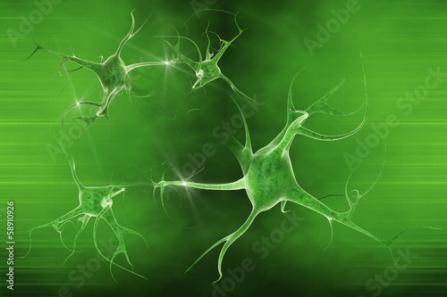 digital illustration of a neuron in beautiful background