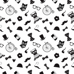 Vector Hipster Black and White Seamless Pattern, Background