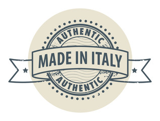 Stamp with the text Authentic, Made in Italy, vector