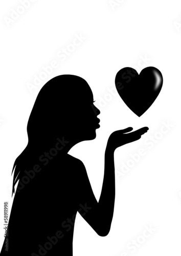 girl with heart. vector file
