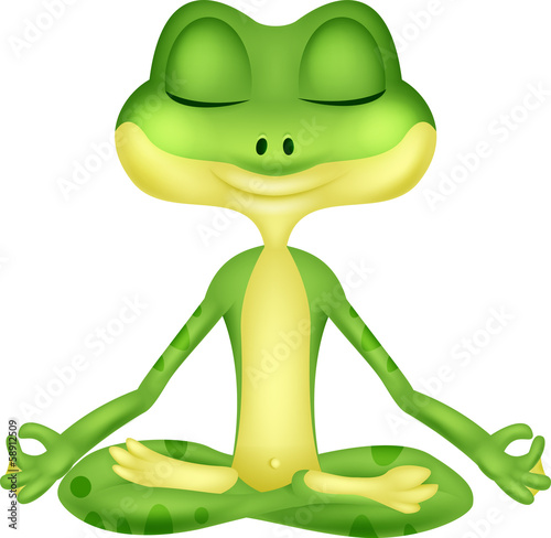 Frog cartoon doing yoga